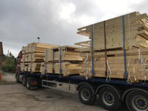 Timber frame panels on a lorry